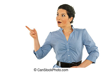Surprised businesswoman pointing away