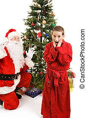 Surprised by Santa Claus