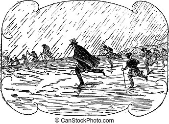 Surprised by the storm, vintage engraving.