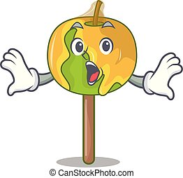 Surprised candy apple mascot cartoon