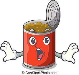 Surprised canned food on the table cartoon