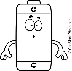 Surprised Cartoon Battery - A cartoon illustration of a...