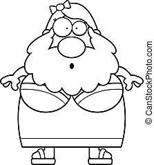 Surprised Cartoon Bearded Lady
