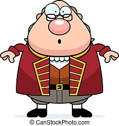 Surprised Cartoon Ben Franklin - A cartoon illustration of...