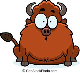 Surprised Cartoon Bison - A cartoon illustration of a bison...