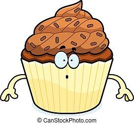 Surprised Cartoon Chocolate Cupcake