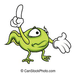 Surprised Cartoon Frog Pointing