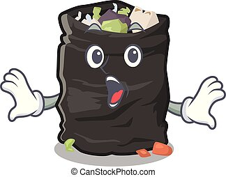 Surprised cartoon garbage bag next to table vector illustration