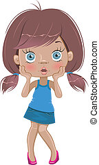 Surprised cartoon girl isolated on a white background
