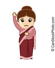 Cartoon Indian Female Character - Surprised Cartoon Indian...