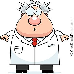 A cartoon illustration of a mad scientist looking surprised.