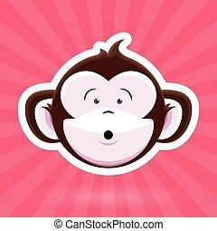 Surprised Cartoon Monkey Face -Pink