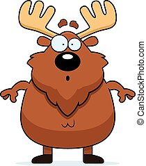 Surprised Cartoon Moose - A cartoon illustration of a moose...