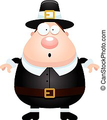 Surprised Cartoon Pilgrim - A cartoon illustration of a...