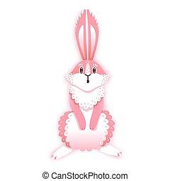 Surprised cartoon rabbit. Funny bunny. Cute hare. Vector illustration
