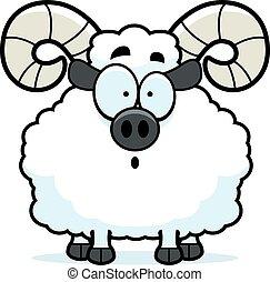 Surprised Cartoon Ram - A cartoon illustration of a ram...