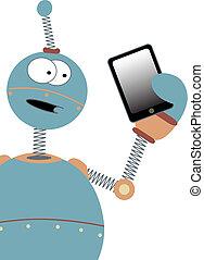 Surprised Cartoon Robot Holding Tab