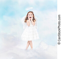 Surprised cheerful little girl among clouds - Surprised...