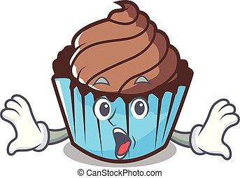 Surprised chocolate cupcake mascot cartoon