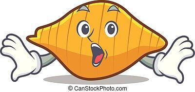 Surprised conchiglie pasta mascot cartoon