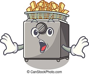 Surprised cooking french fries in deep fryer cartoon vector...
