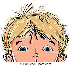 Surprised cute little boy face. - Surprised cute little boy...