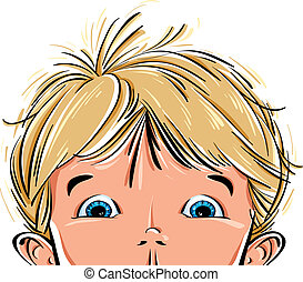Surprised cute little boy face with wide open blue eyes, vector illustration with place for your text.