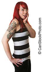 Surprised Cute Woman in Red Hair