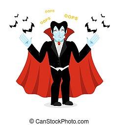 Surprised Dracula. Perplexed vampire says OOPS. Ghoul and ...