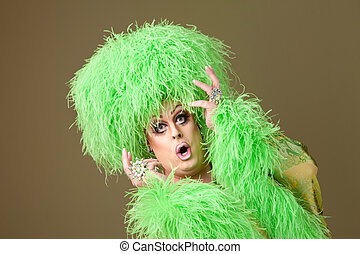 Surprised Drag Queen in Green - Surprised large drag queen...