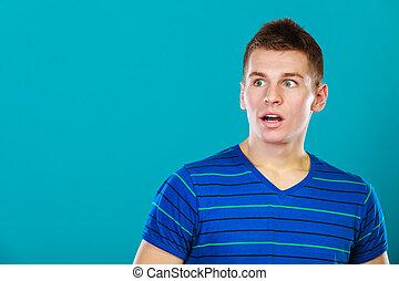 Surprised embarrassed man face