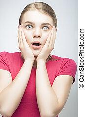Surprised Emotional blond Girl