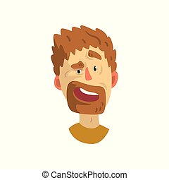 Surprised face of young bearded man, emotional facial expression vector Illustration on a white background