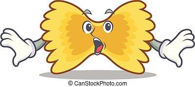 Surprised Farfalle pasta mascot cartoon