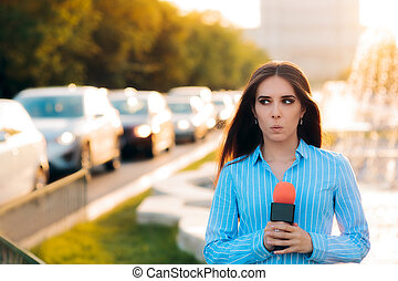 Surprised Female Reporter on Field in Traffic