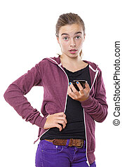 surprised female teenager with smart phone in one hand, isolated on white.