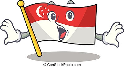 Surprised flag singapore isolated with the character vector illustration