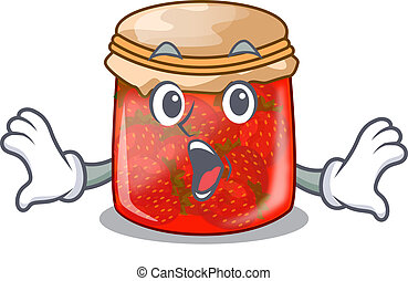 Surprised fresh tasty strawberry jam on mascot vector...