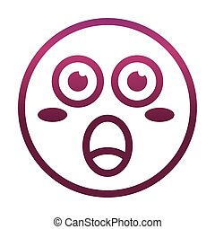 surprised funny smiley emoticon face expression gradient style icon