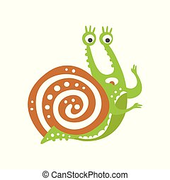 Surprised funny snail character, cute green mollusk hand drawn vector Illustration