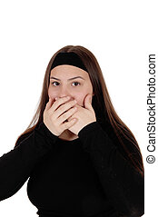 Surprised girl holding her hands over her mouths