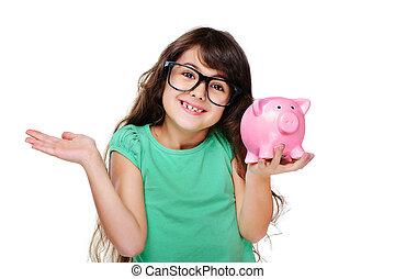 surprised girl holding piggy bank
