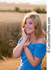 Surprised Girl in a Field