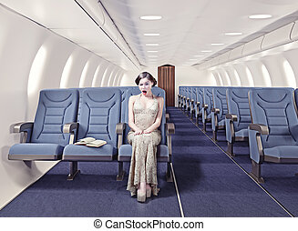 girl in an airplane - Surprised girl in an airplane. ...