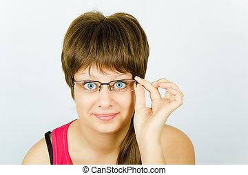 surprised girl in glasses