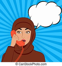 surprised girl in hijab with telephone handset on comic book background