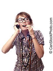 surprised girl speaks by phone