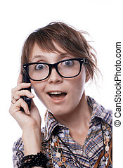 surprised girl with a mobile phone