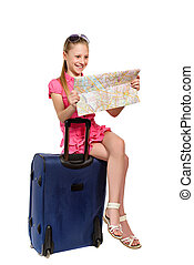 surprised girl with map sitting on a suitcase