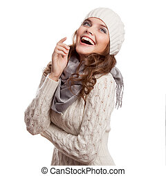 Surprised Girl.Winter woman isolated on white background.